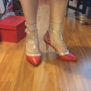9bea45a93b2 Valentino Rockstuds T-strap Lucite clear heels