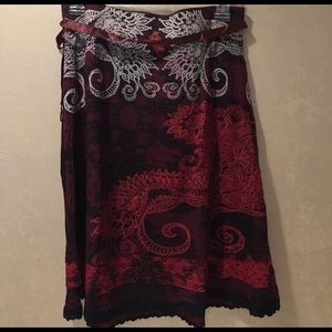 Desigual burgundy white red black combination