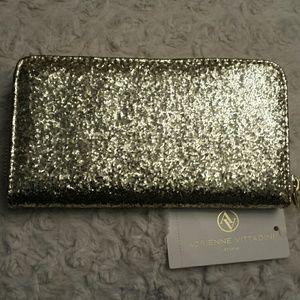 Adrienne Vittadini  Handbags - Adrienne Vittadini NWT Gold Glitter Zip Gold Walle
