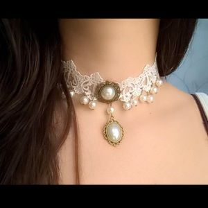 #A38 Elegant Vintage Style Pearl Lace Choker