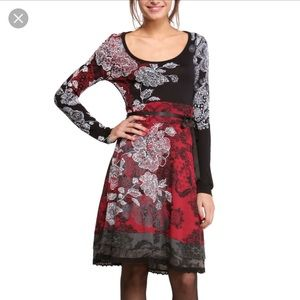 Desigual red black white dress L..might fit M also