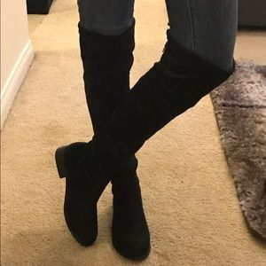 27d688ca9137 Shoes - Black Thigh High Boots with No Heel