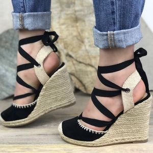 Shoes - Tie Around Platform Espadrilles Wedges