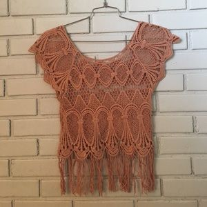 Vintage crochet tee in mauve