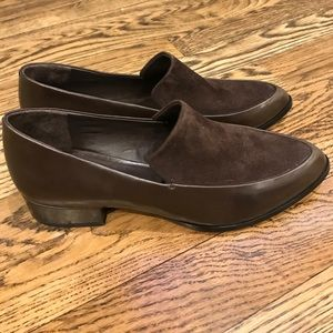 Brown suede and leather loafers NEW size 6
