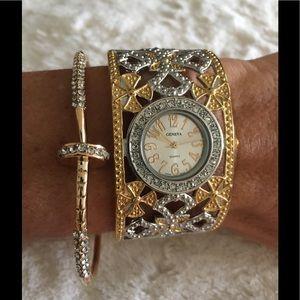 Geneva Platinum Accessories - Bangle Cuff designer watch CZ Rhinestone fashion