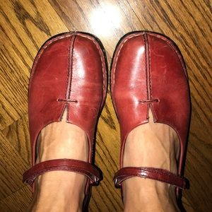 Earth red leather Mary Janes distressed boho
