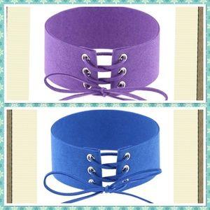 Jewelry - 2pcs lace up velvet leather choker necklaces