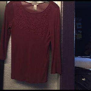 burgundy/plum embroidered top