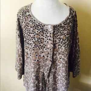 Additions by Chicos Sweaters - Additions by Chicos Leopard Print Sweater Sequins
