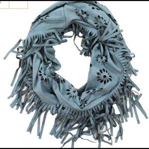 shyanne Accessories - Laser cut fringe suede scarf!