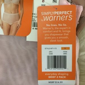 Warner/'s Simply Perfect 2 Pack  No Lines No Lies Moderate Shaping Briefs Large