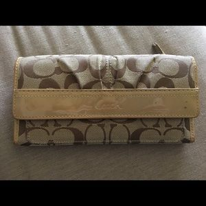 Coach Handbags - Coach Large Wallet in Tan Signature Collection