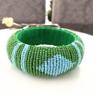 Cara Jewelry - Wide beaded bangle bracelet