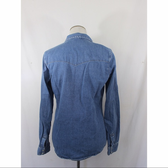 Topshop Tops - TOPSHOP MOTO blue jean long sleeve top