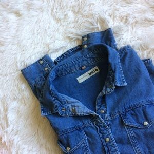 Topshop Tops - TOPSHOP MOTO blue jean long sleeve top