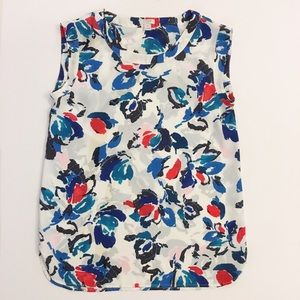 J. Crew Factory Tops - J. Crew floral draped sleeveless blouse