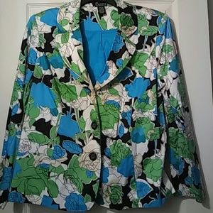 NY Collection Jackets & Blazers - XL Womens Blazer Blue Floral NY Collection