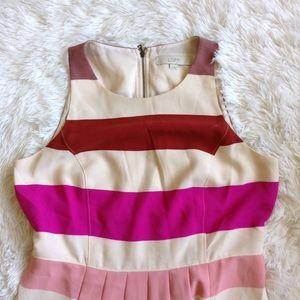 LOFT Dresses & Skirts - LOFT stripedmulticoloredpinksleeveless dress