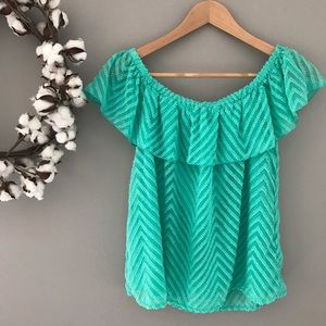 Red Camel Tops - NWOT Off the Shoulder Mint Textured Top Size XS