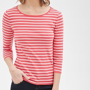 Pink and White Striped 3/4 Sleeve Top Forever 21