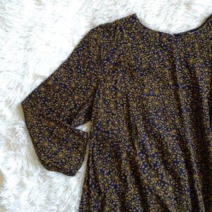 H&M Dresses & Skirts - H&M blue+yellow print 3/4 sleeve babydoll dress