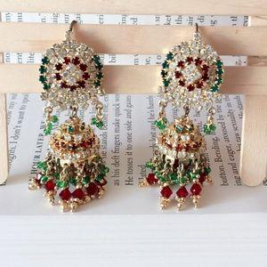 #A44 Multi Zircon Indian Drop Earrings
