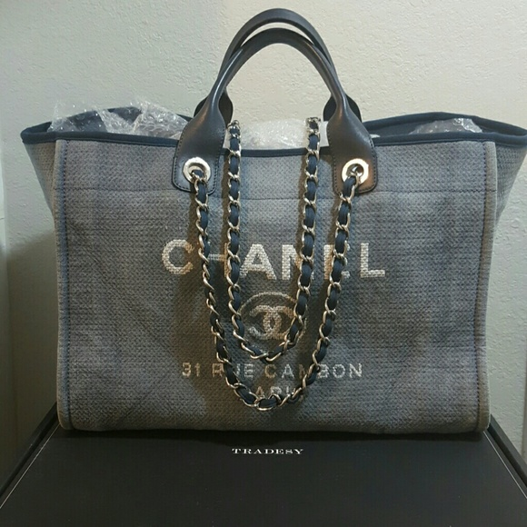 91d986b60769 CHANEL Handbags - CHANEL DEAUVILLE BLUE LARGE TOTE