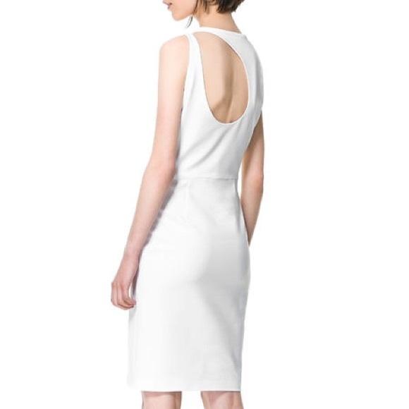Zara Dresses - ZARA White Open Back Cut Out Dress