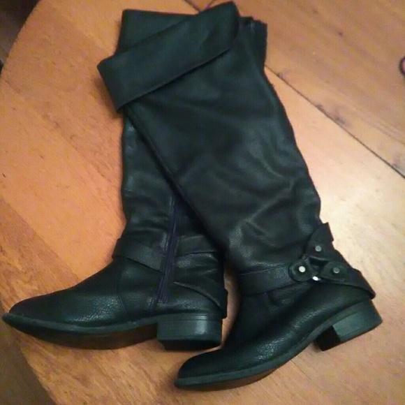 80 torrid shoes black knee high pirate looking