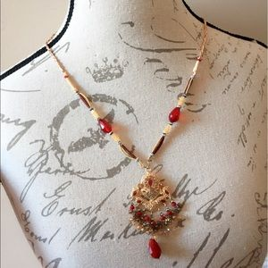 #A47  Indian Red and Gold Necklace.