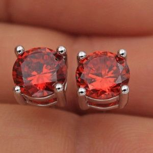 Boutique Jewelry - 7mm Ruby CZ & 18K White Gold Filled Earrings