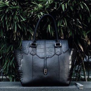 Treesje Spencer black leather croc embossed purse