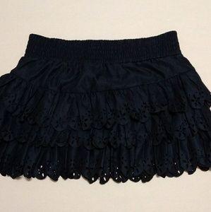 Gabriella Rocha L Eyelet Ruffle Skirt Navy