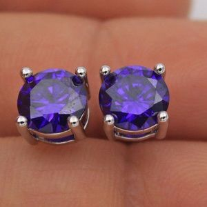 Boutique Jewelry - 7mm Amethyst CZ & 18K White Gold Earrings