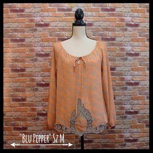 Blu Pepper Tops - NWT Blu Pepper Sheer Blouse W/Crochet Detail