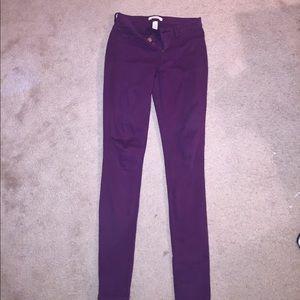 Purple skinny jeans, size 2. Refuge brand.