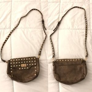 Taupe Studded Shoulder Bag