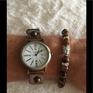 Geneva Accessories - Bronze gold snap bracelet watch leather band