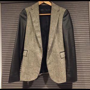 Zara blazer with faux leather sleeves size S