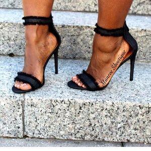 cape Robbin Shoes - Black Denim Ankle Strap Heel Sandals