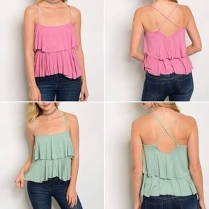 Twilight Gypsy Collective Tops - S, L pink layered soft ruffle  tank open back