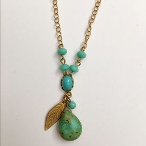 David Aubrey green turquoise leaf necklace