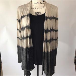 Lapis Sweaters - Lapis Tie Dye Colorblock Open Cardigan