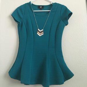 Iz Byer Tops - Peplum with built in necklace!!