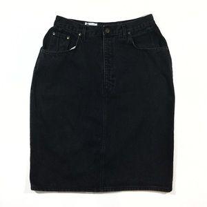 Vintage Dresses & Skirts - VTG 90s Venezia Black Denim Pencil Skirt