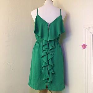 Green Dress  Gold Zipper & Cascading Ruffles ✨
