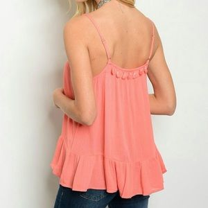 Threadzwear Tops - Coral Tassel Tank
