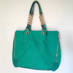 Anne Klein Handbags - 🦁 Anne Klein Large Teal Tote Nylon Faux Leather