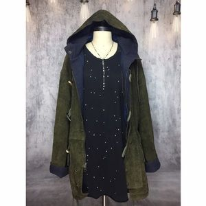 Vintage Jackets & Blazers - OVERSIZED KANYE STYLE LEATHER/SUEDE OLIVE JACKET!!